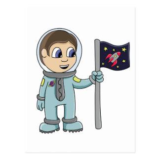 Glücklicher Cartoon-Astronaut, der Rocket-Flagge Postkarte