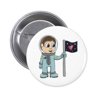 Glücklicher Cartoon-Astronaut, der Rocket-Flagge Runder Button 5,7 Cm