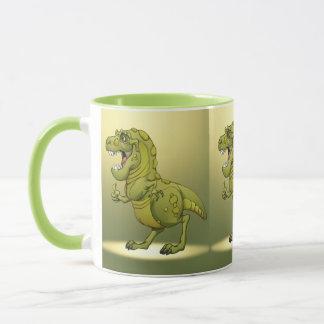 Glücklicher Cartoon-Dinosaurier, der die Daumen Tasse