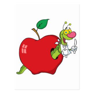 Glücklicher Cartoon-Wurm in Apple Postkarte