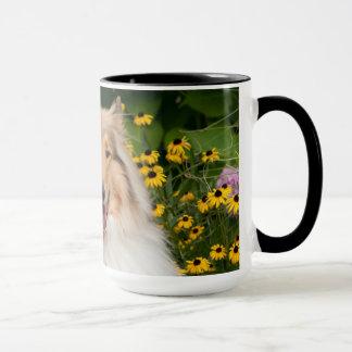 Glücklicher Collie und Gänseblümchen Tasse