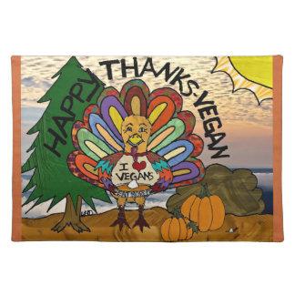 Glücklicher Dank-veganer Erntedank die Türkei Stofftischset