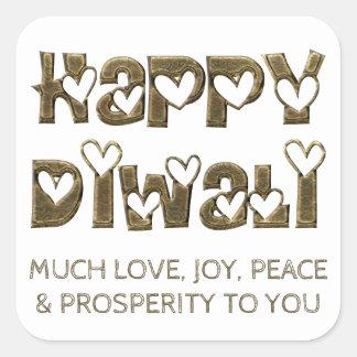 Glücklicher Diwali Gruß-Herz-Typografie-Aufkleber Quadratischer Aufkleber