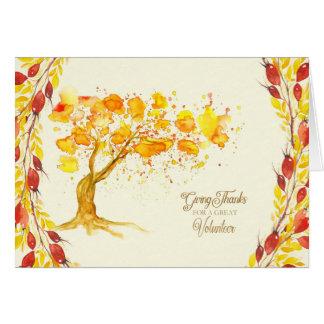 Glücklicher Erntedank für freiwilligen Herbst-Baum Grußkarte