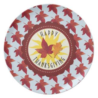 Glücklicher Erntedank-Himmel und Herbstlaub Melaminteller