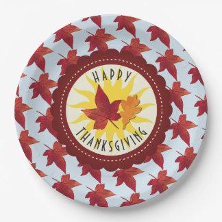 Glücklicher Erntedank-Himmel und Herbstlaub Pappteller