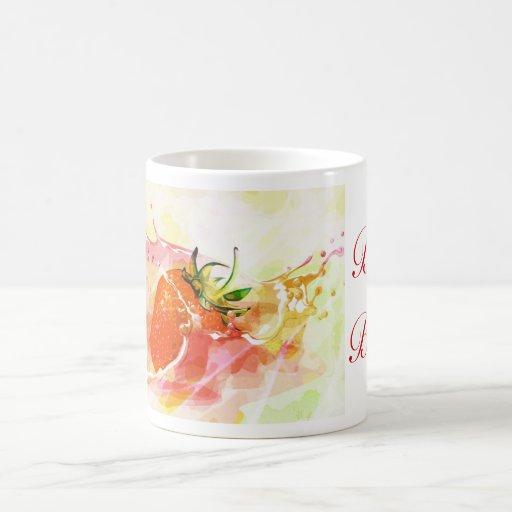 Glücklicher Erntedank mit Erdbeergewohnheitstext Tee Tassen