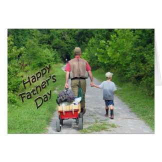 Glücklicher FathersDay | Vati-u. Sohn-Angelausflug Karte