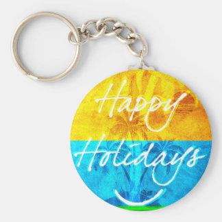 Glücklicher Feiertag grundlegendes rundes Keychain Standard Runder Schlüsselanhänger