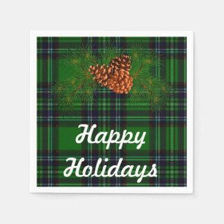 Glücklicher Feiertag - grüner Tartan mit Papierservietten