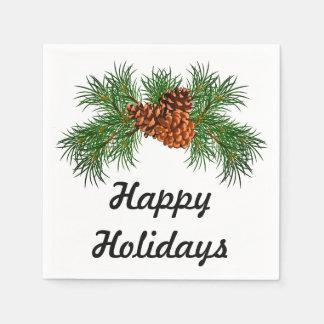 Glücklicher Feiertag - Kieferkegel Detail Papierserviette