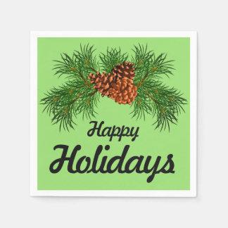 Glücklicher Feiertag - Kieferkegel Detail Papierservietten
