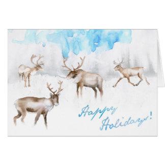 Glücklicher Feiertag! - Ren-Karten-Aquarell Karte