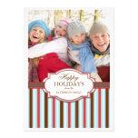 Glücklicher Feiertag Stripes großen Foto-Karten-Gr Personalisierte Einladungskarte