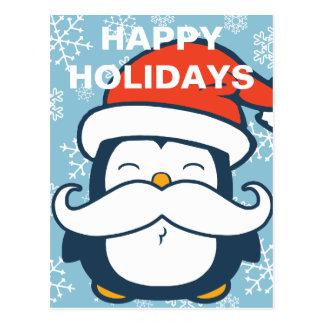 Glücklicher Feiertagepenguin-Schnurrbart-Trend Postkarte
