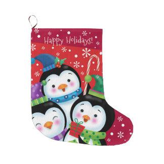 Glücklicher Feiertagepenguin-Strumpf Großer Weihnachtsstrumpf