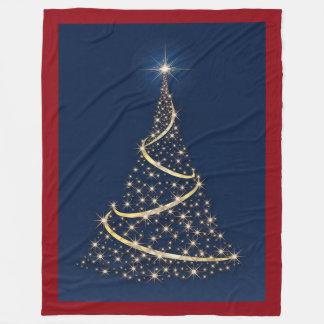 Glücklicher Feiertags-Baum des Goldes hat Fleecedecke