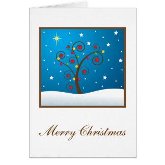 Glücklicher Feiertags-Baum im Schnee Karte
