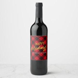 Glücklicher Feiertags-Büffel kariert und Weinetikett