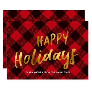 Glücklicher Feiertags-Büffel-rote karierte und Karte