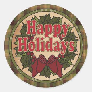 Glücklicher Feiertags-WeihnachtsKranz Runder Aufkleber