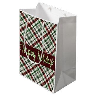 Glücklicher Feiertags-Weihnachtsschein kariert Mittlere Geschenktüte