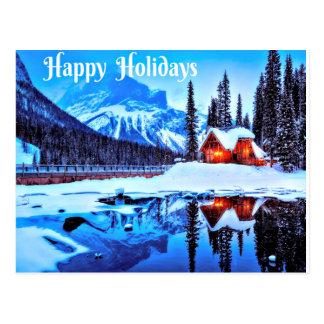 Glücklicher Feiertags-winterliche Nacht Postkarte