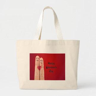 Glücklicher Finger-Valentinstag Jumbo Stoffbeutel