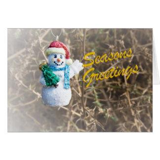 Glücklicher Fliegen-Schneemann Grußkarte