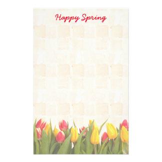 Glücklicher Frühlings-bunte Tulpen Briefpapier