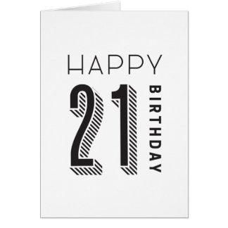 Glücklicher Geburtstag 21 Karte