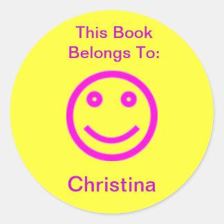 Glücklicher Gesichts-Buch-Aufkleber Runder Aufkleber
