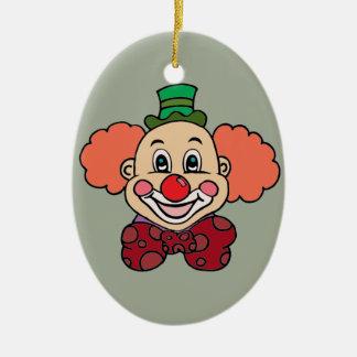 Glücklicher Gesichts-Clown Ovales Keramik Ornament