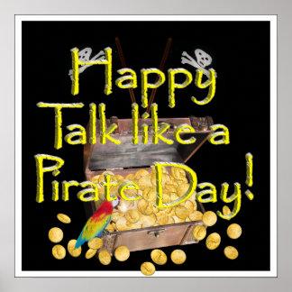 """Glücklicher """"Gespräch wie ein Piraten-"""" Tag Poster"""