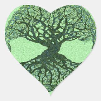 Glücklicher grüner Baum des Lebens Herz-Aufkleber