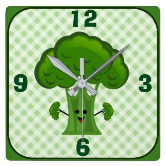 Glücklicher grüner Brokkoli Quadratische Wanduhr