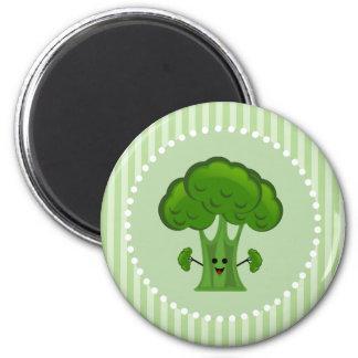 Glücklicher grüner Brokkoli Runder Magnet 5,1 Cm
