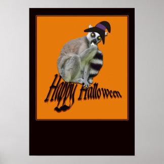 Glücklicher Halloween beängstigender Lemur in Poster