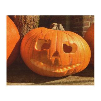 Glücklicher Halloween-Kürbis Holzdruck