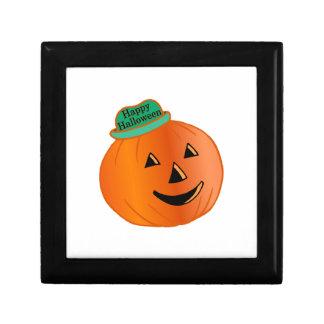 Glücklicher Halloween-Kürbis mit Hut Erinnerungskiste