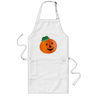 Glücklicher Halloween-Kürbis mit Hut Lange Schürze