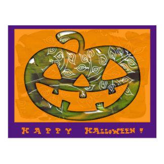Glücklicher Halloween-Kürbis - Postkarte oder