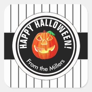 Glücklicher Halloween-Kürbis Quadratischer Aufkleber