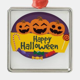 Glücklicher Halloween-Kürbis Silbernes Ornament