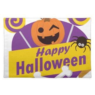 Glücklicher Halloween-Kürbis Stofftischset
