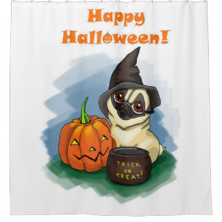Glücklicher Halloween-Mops Duschvorhang