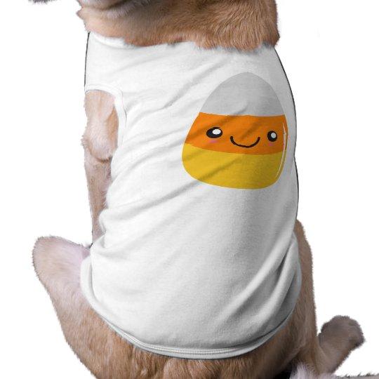 Glücklicher Halloween-Süßigkeits-Mais Emoji Ärmelfreies Hunde-Shirt