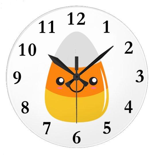Glücklicher Halloween-Süßigkeits-Mais Emoji Große Wanduhr