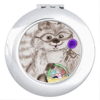 Glücklicher Halloween-Waschbär Taschenspiegel