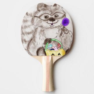 Glücklicher Halloween-Waschbär Tischtennis Schläger